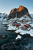 Beautiful and iconic Hamnoy village at sunset in winter day, Lofoten Islands, Northern Norway, Europe