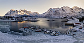 panoramic aerial view of little fisherman harbour in cold winter morning, Austnesfjorden, Lofoten island, Northern Norway, Europe