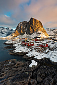 Beautiful and iconic Hamnoy village at sunrise in winter day, Lofoten Islands, Northern Norway, Europe