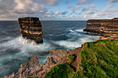 the cliffs of Downpatrick Head in summer day, country Mayo, Connaught province, West, Ireland, Europe