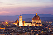 Overview of Florence Cathedral at dusk from Piazzale Michelangelo, Florence, Tuscany, Italy