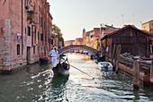 A gondola on Rio del Ognissanti, Venice, Veneto, Italy