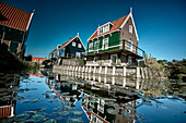 Typical houses at the harbor of the island Marken, North Holland, Netherlands