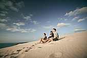 Family on the dune, Dune d'Arcachon, French Atlantic coast, Aquitaine, France