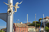 Magic column of Peter Lenk on the lake promenade overlooking the Meersburg, Lake Constance, Baden-Württemberg