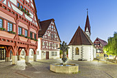 Early morning house, public library and Ottilienkapelle on the market in Plochingen am Neckar, Baden-Wuerttemberg