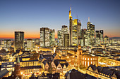 View from the Kaiserdom on the financial district at night, Frankfurt, Hesse, Germany