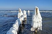 Icy piles in the Baltic Sea on the beach, Juliusruh, Wittow peninsula, Rügen Island, Mecklenburg-Vorpommern, Northern Germany