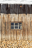 Icicles at a hut, Gerold, Werdenfelser Land, Upper Bavaria, Bavaria