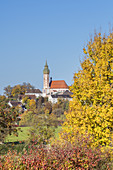 "Pilgrimage church Kloster Andechs on the ""sacred mountain of Bavaria"", Fünfseenland, Upper Bavaria, Bavaria, Germany"
