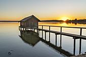 Boathouse in Stegen, Inning am Ammersee, Fünfseenland, Upper Bavaria, Bavaria, Germany