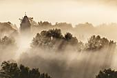 Kirchturm von Zell im Nebel, Großweil, Oberbayern, Bayern, Deutschland