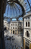 View from above into the Galleria Umberto I with its famous glass roof, Naples, Campania, Italy