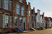 Old houses at the Kaai in Veere, Veerse Meer, Walcheren peninsula, Zeeland province, Netherlands, Holland