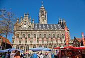 Town Hall (Stadhuis) at the market in Middelburg, Walcheren peninsula, Zeeland province, North Sea, Netherlands, Holland
