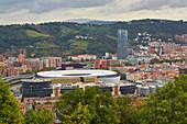 Bilbao, view on stadium, Iberdrola Tower and Guggenheim Museum, Basque Country, Spain, Europe