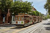 Cable Car nahe Endhaltestelle in San Francisco, Kalifornien, USA