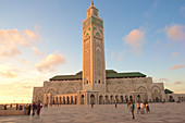Hassan II. Mosque at sunset with clouds and blue sky, Casablanca, Morocco