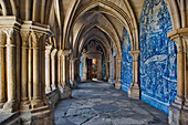 Cloister in the cathedral with blue azulejos in Porto, Portugal