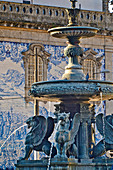 Fountain with winged lions in front of the University in Porto, Portugal