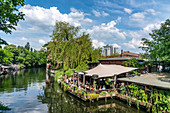 Spree Kanal, club of visionaries, techno club open air, in the background Freischwimmer, Berlin Kreuzberg
