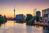 Schilling bridge and TV tower at the river Spree in Berlin