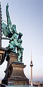 Angel sculpture at the Berliner Dom, Alex Fernsehturm, Berlin