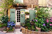Hauseingang mit Blumen in Saignon, Vaucluse, Provence-Alpes-Côte d'Azur, Frankreich