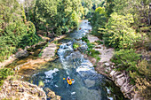 View of kayakers in the raging river Gorges D'Opedette, Provence-Alpes-Cote d'Azur