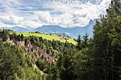 Die Erdpyramiden in Lengmoos, Ritten in Südtirol, die wie Nadeln aus der Landschaft ragen