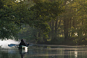 During the sunrise, the countless rivers of the Spreewald transform into a fairytale landscape