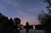 Starry sky with Milky Way, Spreewald Biosphere Reserve in Brandenburg, Germany