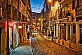 Tram rails in Rua Cavaleiros from Alfama to Rua Martim Moniz, Lisbon, Portugal