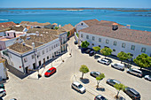 Faro, view from the Igreja da Sé about houses on the Largo da Sé and the Ria Formosa, Portugal, Algarve