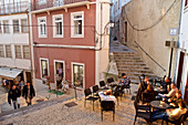 Terrace between stairs with bar in the old town, Coimbra, Beira, Central Portugal, Portugal
