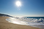 Further sandy beach with surf at Nazaré, Estremadura, Central Portugal, Portugal