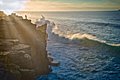 Anglers on cliffs and high surf at Peniche, Estremadura, Central Portugal, Portugal