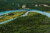Flight over the Yukon River in summer, aerial view, Yukon, Canada