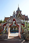 Decorated gate in the Buddhist temple Wat Bopparam in Chiang Mai, Chiang Mai, Thailand