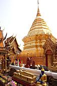 Various Buddha statues and stupa in the temple Wat Prah That Doi Suthep, Chiang Mai, Thailand