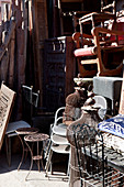 Bird cages and antique furniture on the Souk el Khemis, Marrakech, Morocco