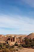 View of the Kasbah Ait Ben Haddou and the desert, Ait Ben Haddou, Morocco
