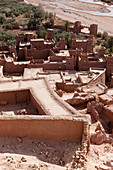 View from a hill on the Kasbah Ait Ben Haddou and the desert, Ait Ben Haddou, Morocco