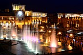 in the evening, daily water games with music at Republic Square, Yerevan, Armenia, Asia