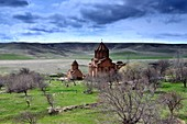 Located in the middle of the barren landscape by the river, Marmaschen Monastery near Gyumri, northern Armenia, Asia