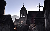 Tower and cross of Haghpat Monastery complex at Alverdi, Caucasus, North Armenia, Asia