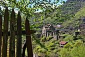 Akhtala early Christian monastery in mountain landscape near Ayrum, Caucasus, North Armenia, Asia