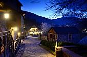 In the evening, renovated lane in Tufenkian Complex, Dilijan, Caucasus, North Armenia, Asia