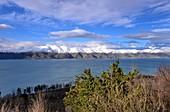 View from the Sevan Peninsula on Lake and Mountain Landscape, Sewan Lake, Armenia, Asia