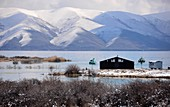 Hut on the shore of the lake, view with snowy mountains, Lake Sevan, Armenia, Asia